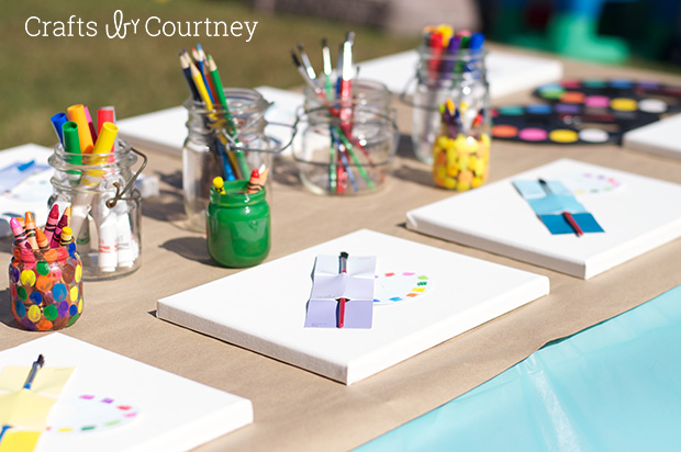 birthday party craft ideas ; easy-diy-kids-arts-and-crafts-themed-birthday-party-craft-table