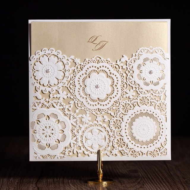 birthday party invitation kits ; Laser-Cut-Wedding-Invitations-Kits-Flower-Elegant-Paper-Cardstock-with-Pearly-Baby-Birthday-Cards-for-Party