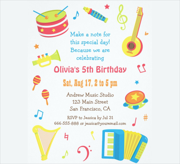 birthday party invitation rsvp wording ; Colourful-Music-Instruments-Kids-Birthday-Party-Invitations