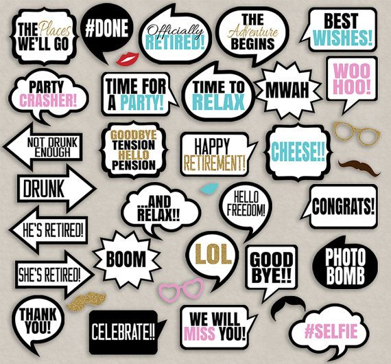 birthday party photo props ; 77341dfb4bb7a037a230ed482d897add--retirement-party-photo-booth-retirement-party-decorations