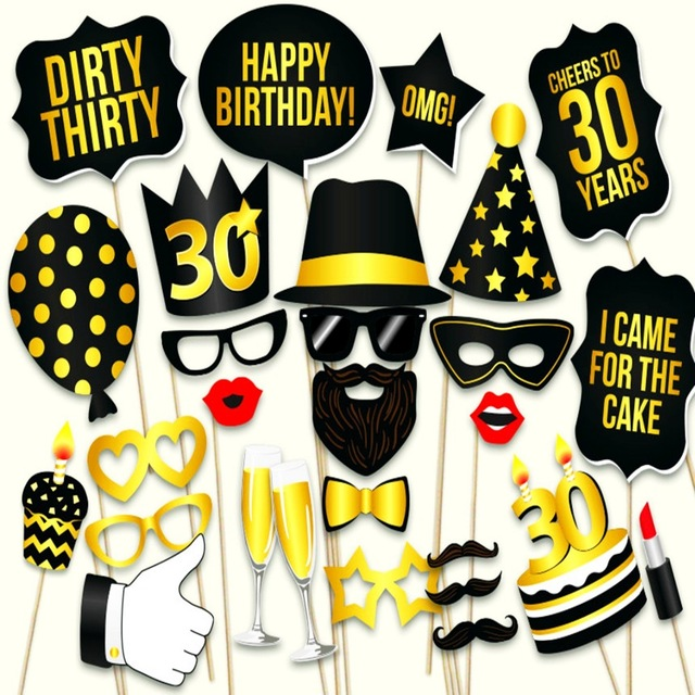 birthday party photo props ; Photo-Booth-Props-30th-Birthday-Party-Props-Thirty-Man-Woman-style-30Years-Moustache-Glass-Mask-30th