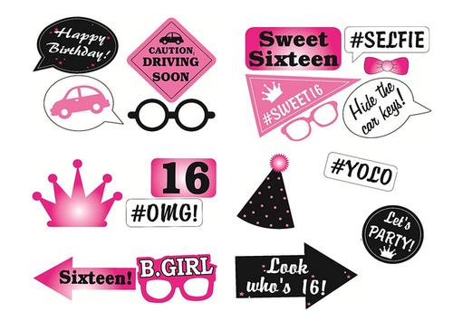 birthday party photo props ; fancy-steps-16th-birthday-party-props-photo-booth-19-pcs-500x500
