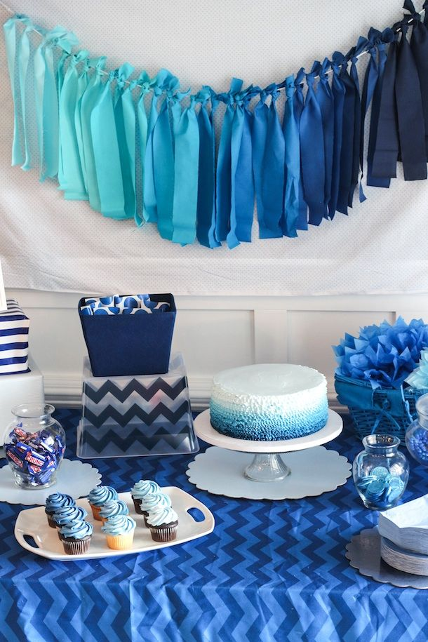 birthday party picture display ; 222274-Blue-Ombre-Birthday-Party-Display