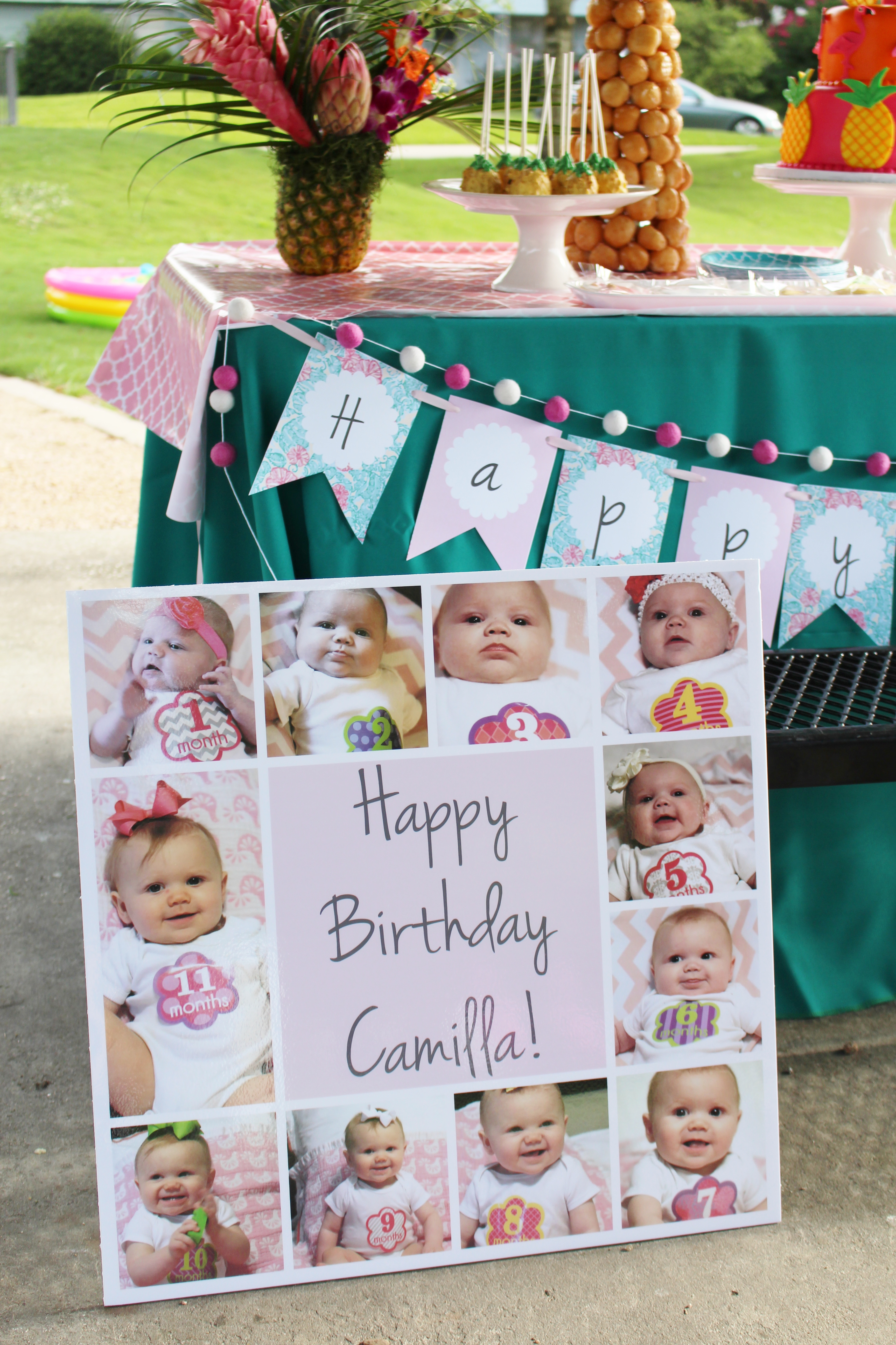 birthday party picture display ; birthday-party-invitation-ideas-first-birthday-photo-display-photo-display-flamingo-party-ideas