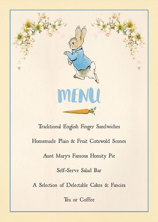 birthday party stationery ; 3437be6576d75dd36ad39f5328fea6c3--kids-party-menu-peter-rabbit-party