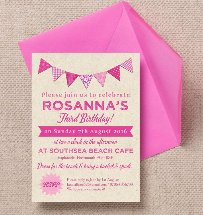 birthday party stationery ; 41d5d9325e2ba5d9dc06586a5e000c70--party-invitations-diy-kids-pink-bunting