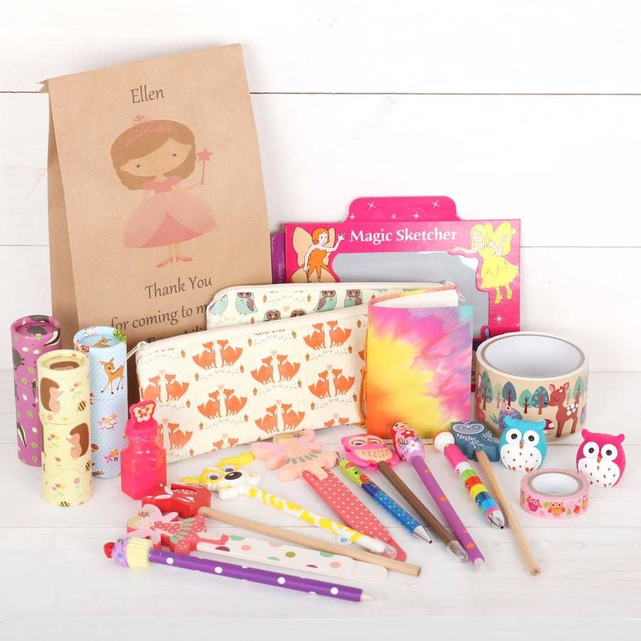 birthday party stationery ; original_girls-stationery-birthday-party-bag-favour-fillers