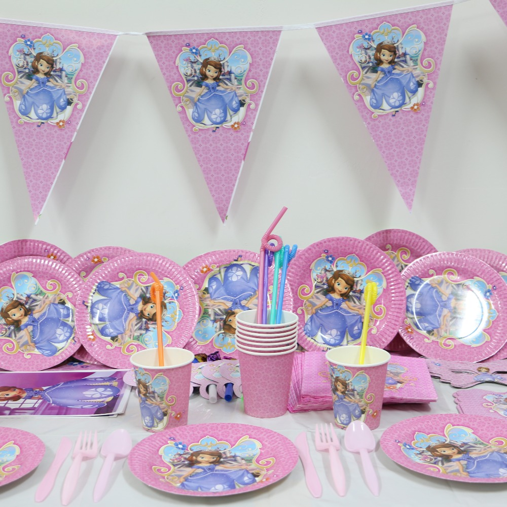 birthday party supplies themes ; 1pack-40pcs-Wholesale-Sophia-font-b-princess-b-font-Baby-font-b-1st-b-font-font