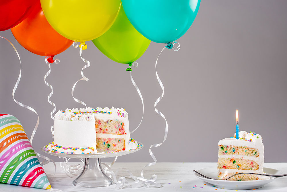 birthday party themes ; RainbowBirthdayCake