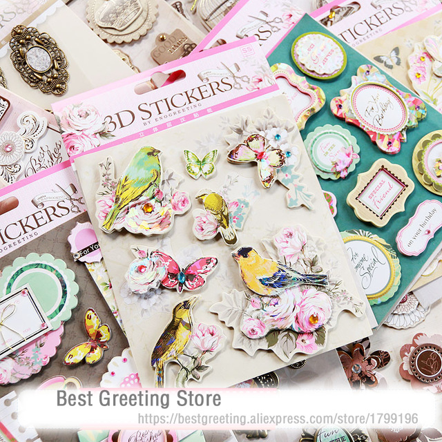 birthday photo album titles ; paper-vintage-3D-stickers-retro-birds-quotes-titles-butterfly-metal-frame-scrapbooking-stickers-for-album-cardmaking