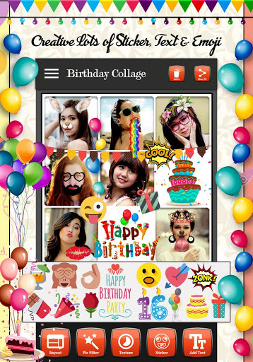 birthday photo collage maker ; happy