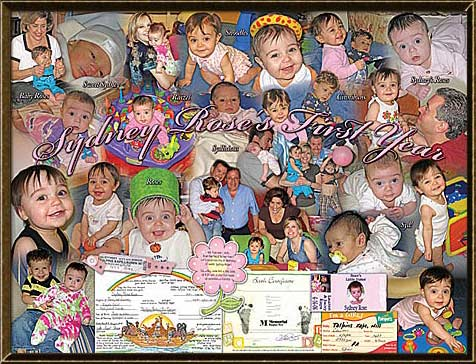 birthday picture collage ; 1st-year-framed-collage