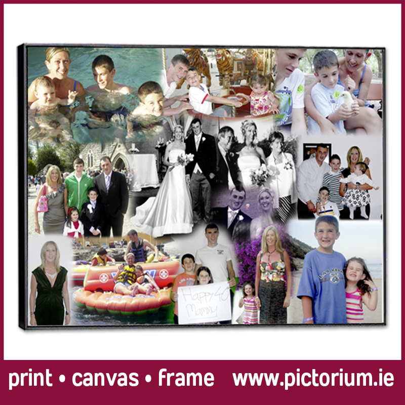 birthday picture collage ; Pictorium-Monkstown-Dublin_We-design-print-PHOTO-COLLAGES_Canvas_Photo-Frame_Mums-40th-Birthday-Photo-Collage
