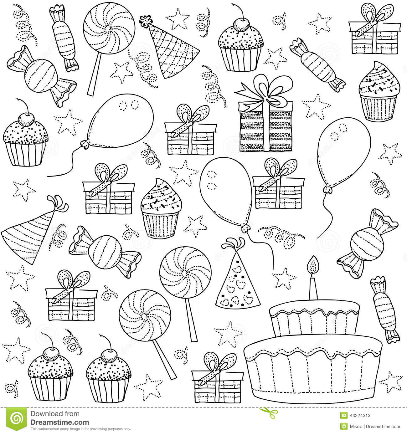 birthday sketch images ; cartoon-sketch-clipart-set-birthday-party-illustration-43224313