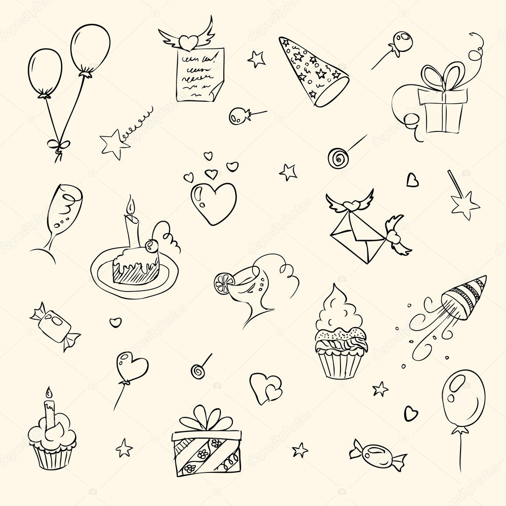 birthday sketch images ; depositphotos_24406541-stock-illustration-birthday-hand-drawn-sketch-icons