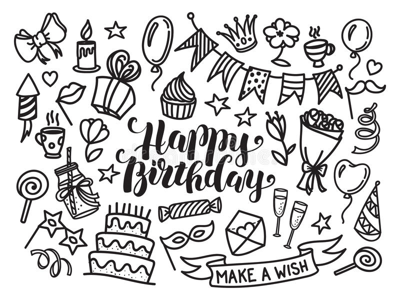 birthday sketch images ; happy-birthday-lettering-doodle-set-vector-illustration-white-background-funny-sketch-party-objects-73742282