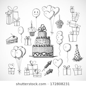 birthday sketch images ; set-birthday-sketch-objects-isolated-260nw-172808231