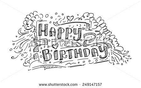 birthday sketch images ; stock-vector-happy-birthday-doodle-sketch-teen-design-vector-illustration-249147157