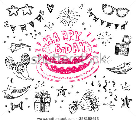 birthday sketch images ; stock-vector-happy-birthday-hand-drawn-sketch-set-with-doodle-cake-balloons-fireworks-and-party-attributes-358168613