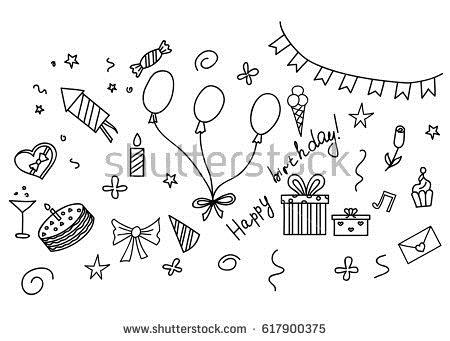 birthday sketch images ; stock-vector-happy-birthday-hand-drawn-sketch-set-with-party-attributes-617900375