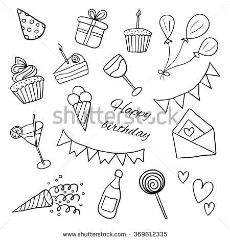 birthday sketch images ; stock-vector-icons-happy-birthday-sketch-vector-black-and-white-illustration-doodles-balloons-cakes-gifts-369612335