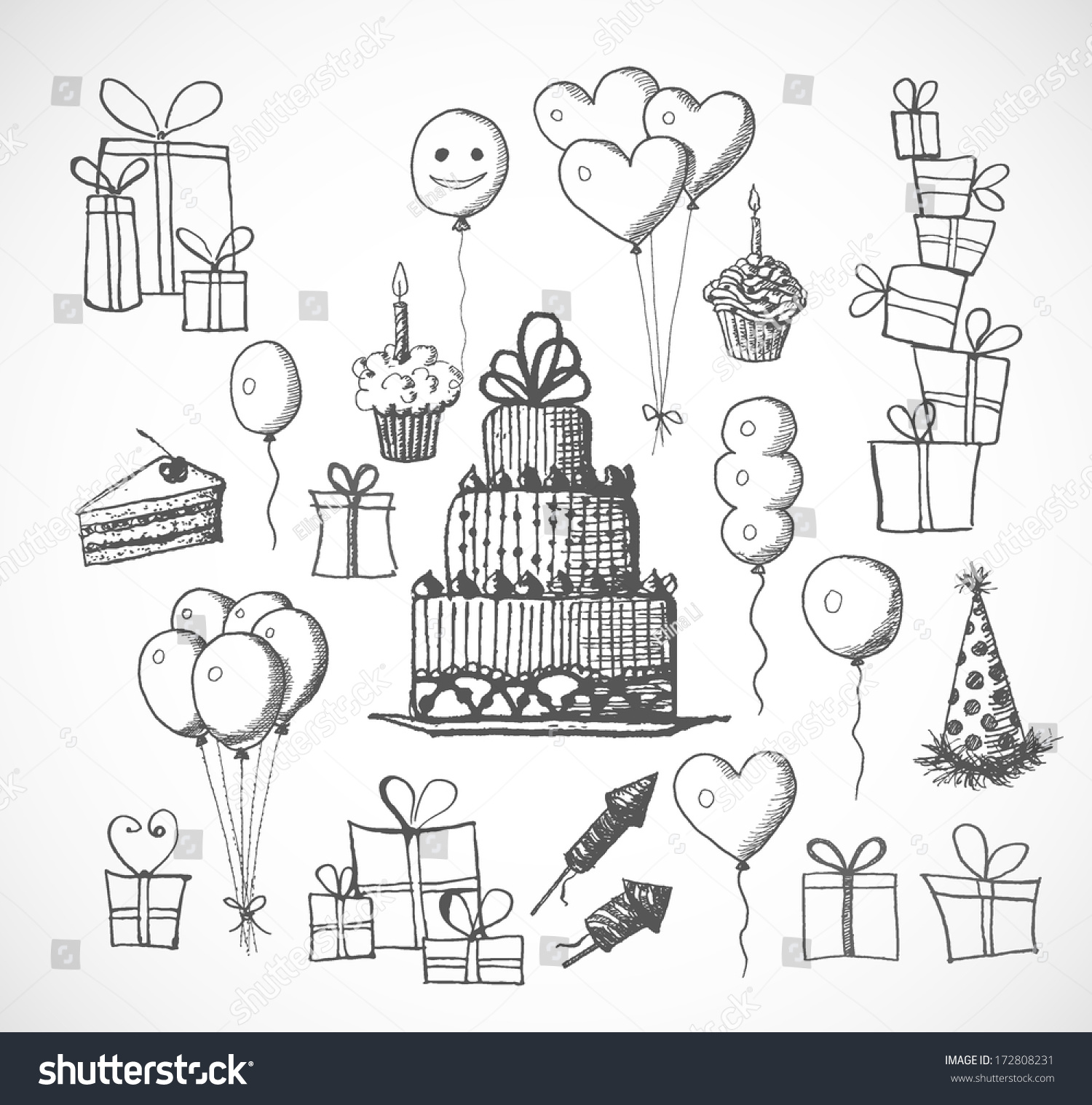 birthday sketch images ; stock-vector-set-of-birthday-sketch-objects-isolated-on-white-cakes-balloons-birthday-gifts-vector-172808231
