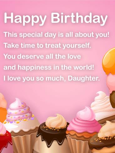 birthday treat message ; Super-Daughter-Birthday-Wishing-Message-E-Card