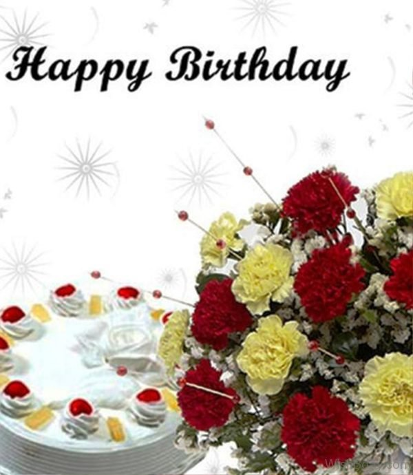 birthday wish with flower images ; Happy-Birthday-With-Cake-And-Flower-600x690