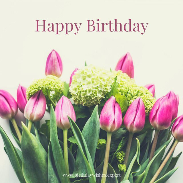 birthday wish with flower images ; Happy-Birthday-wish-on-image-with-tulips-and-hydrangea-flowers