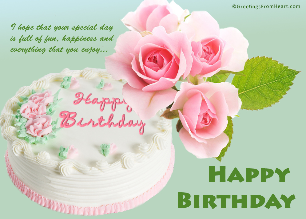 birthday wish with flower images ; happy-birthday-with-cake