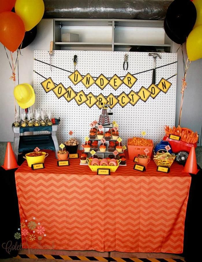 black and orange birthday banner ; ddb6c0e825ed3016d699635c73422822--construction-theme-cake-construction-party-decorations