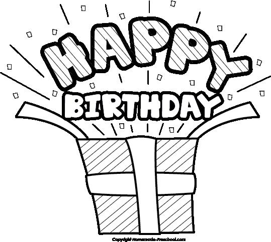 black and white birthday clip art free ; happy-birthday-present-surprise-bw