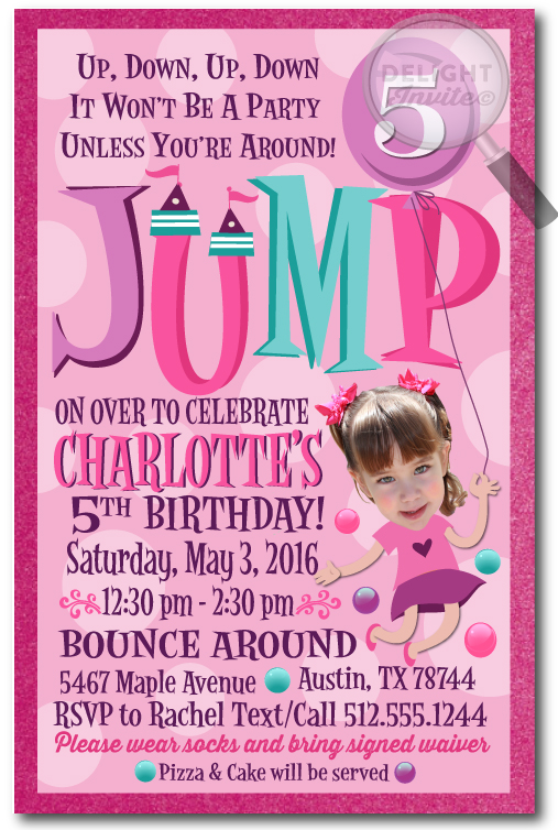 bounce birthday invitation wording ; bounce_house_jump_party_invitations_for_girls