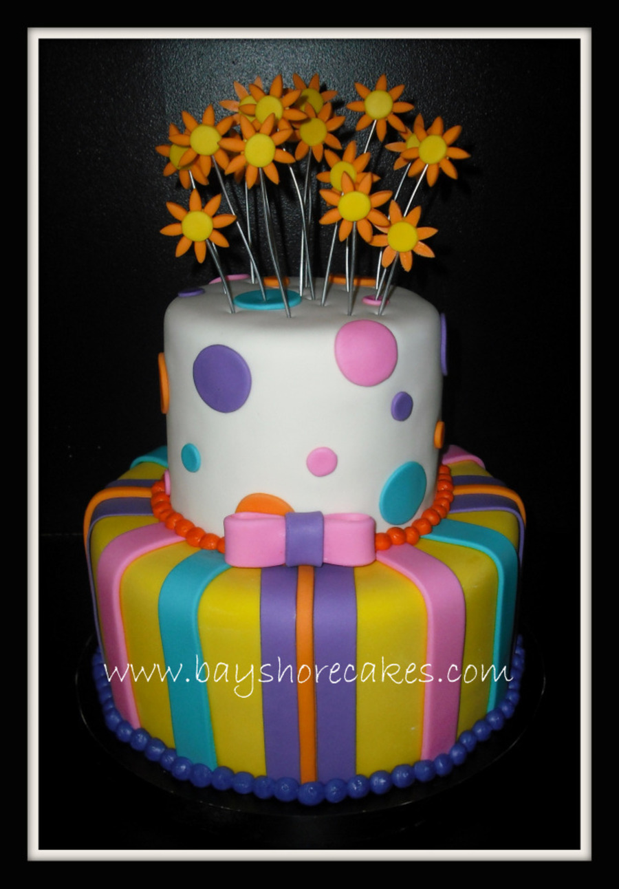 bright colored birthday cakes ; 900_580063Fs7B_2-tier-birthday-cake-bright-colors