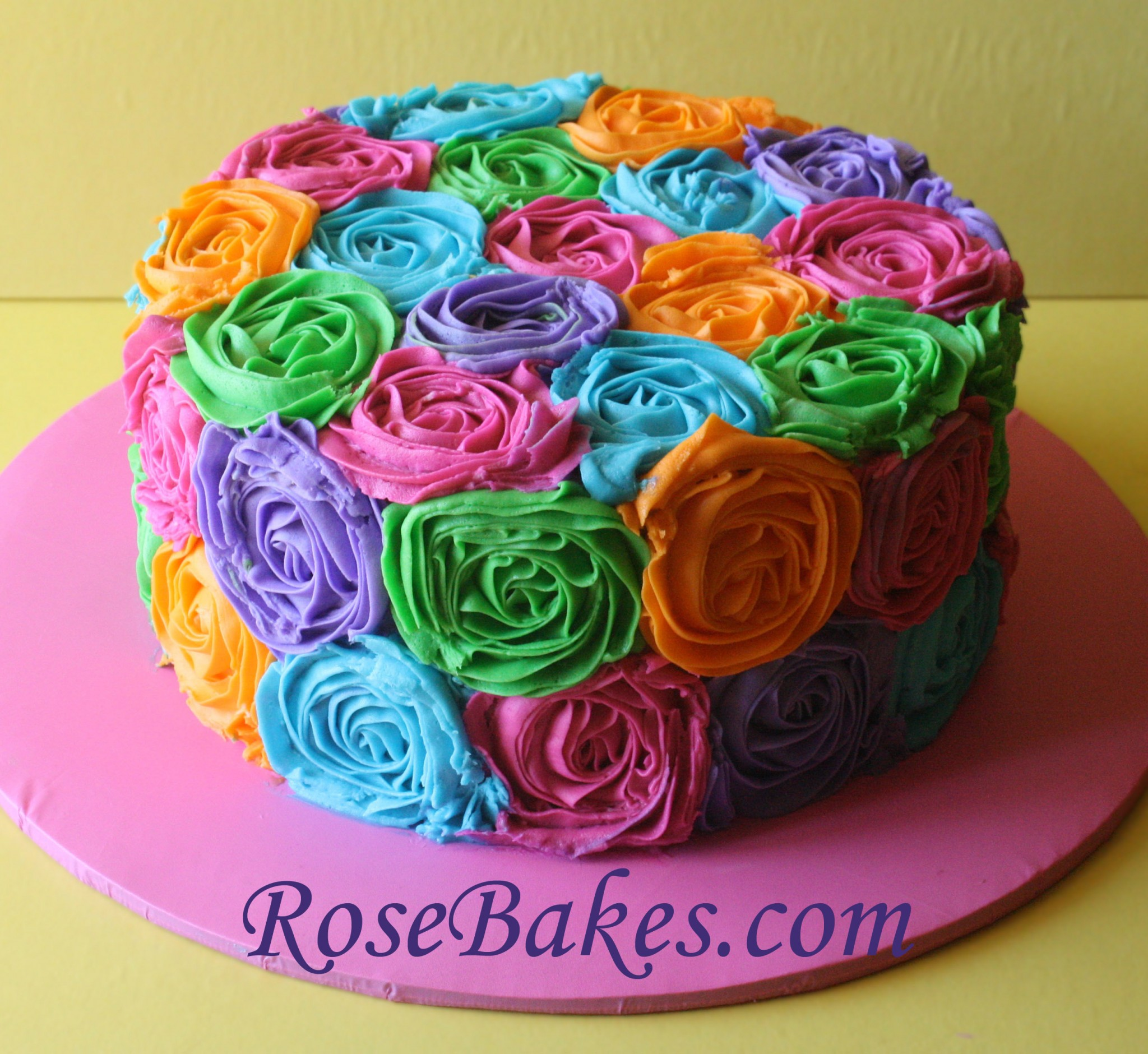bright colored birthday cakes ; Bright-Buttercream-Roses-RB