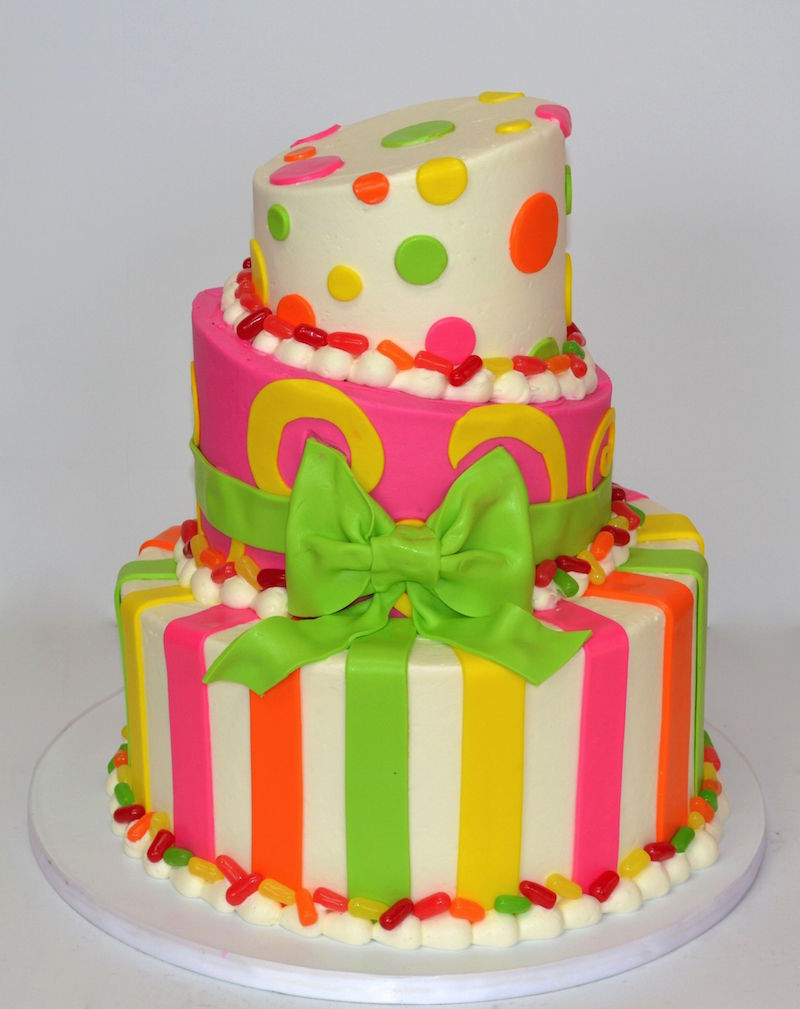 bright colored birthday cakes ; imageDrop_4454