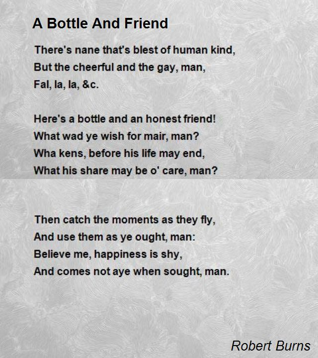 burns birthday poem ; a-bottle-and-friend