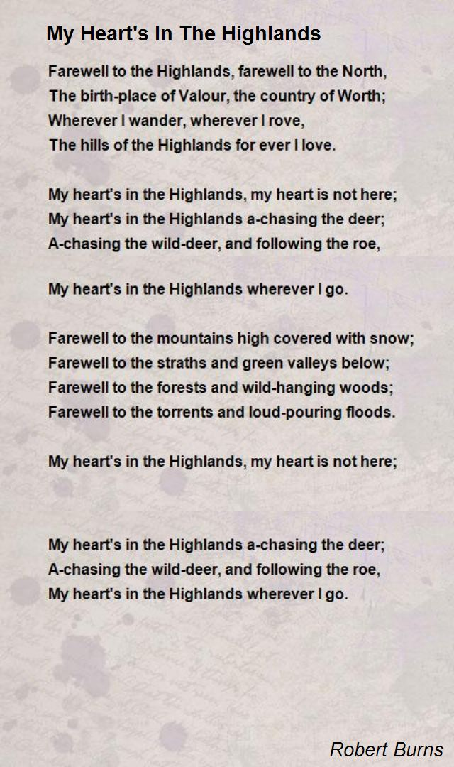 burns birthday poem ; my-heart-s-in-the-highlands