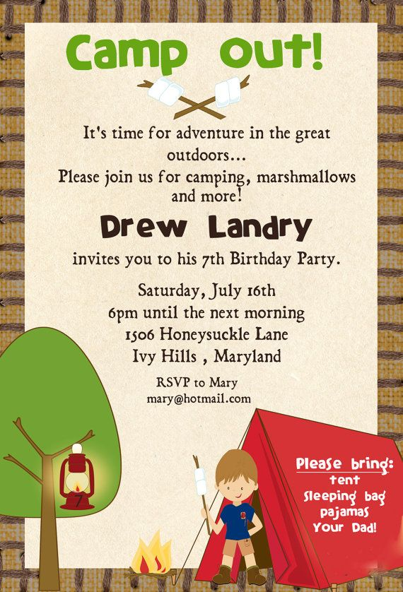 camping birthday party invitation ideas ; 1e334aade35f81b92c62c931a222db4b--camping-parties-camping-theme