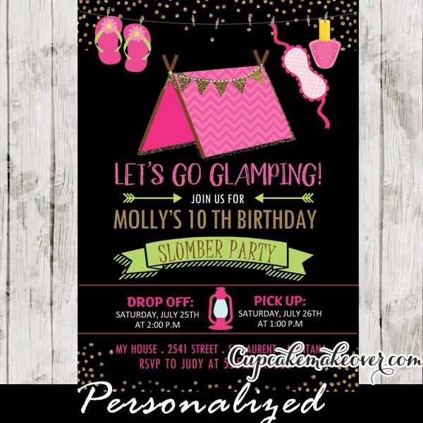 camping birthday party invitation ideas ; Camping-Party-Invitions-Pink-Glamping-Tent-Girls-Sleepover-Birthday-Invitations-Ideas-3