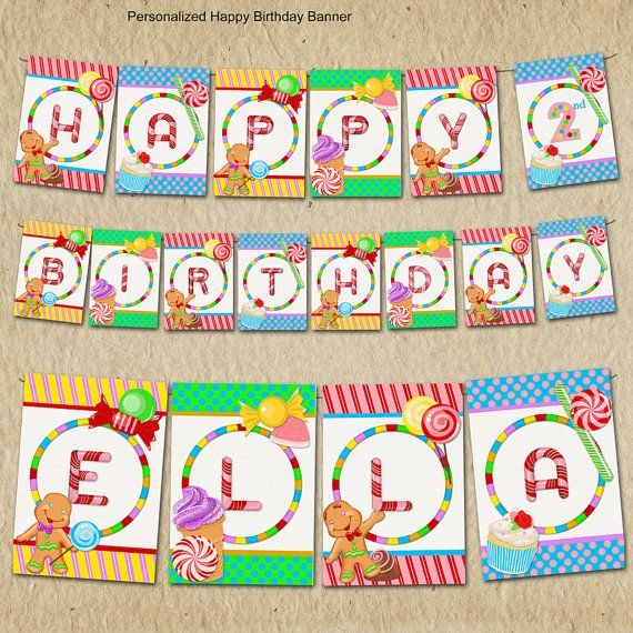 candyland birthday banners personalized ; 2faeefe1f5b851e2ae600628732e827e