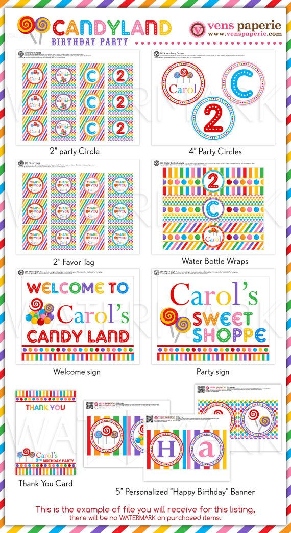 candyland birthday banners personalized ; 3d09eeed01fd82aa8290c724009a2de4