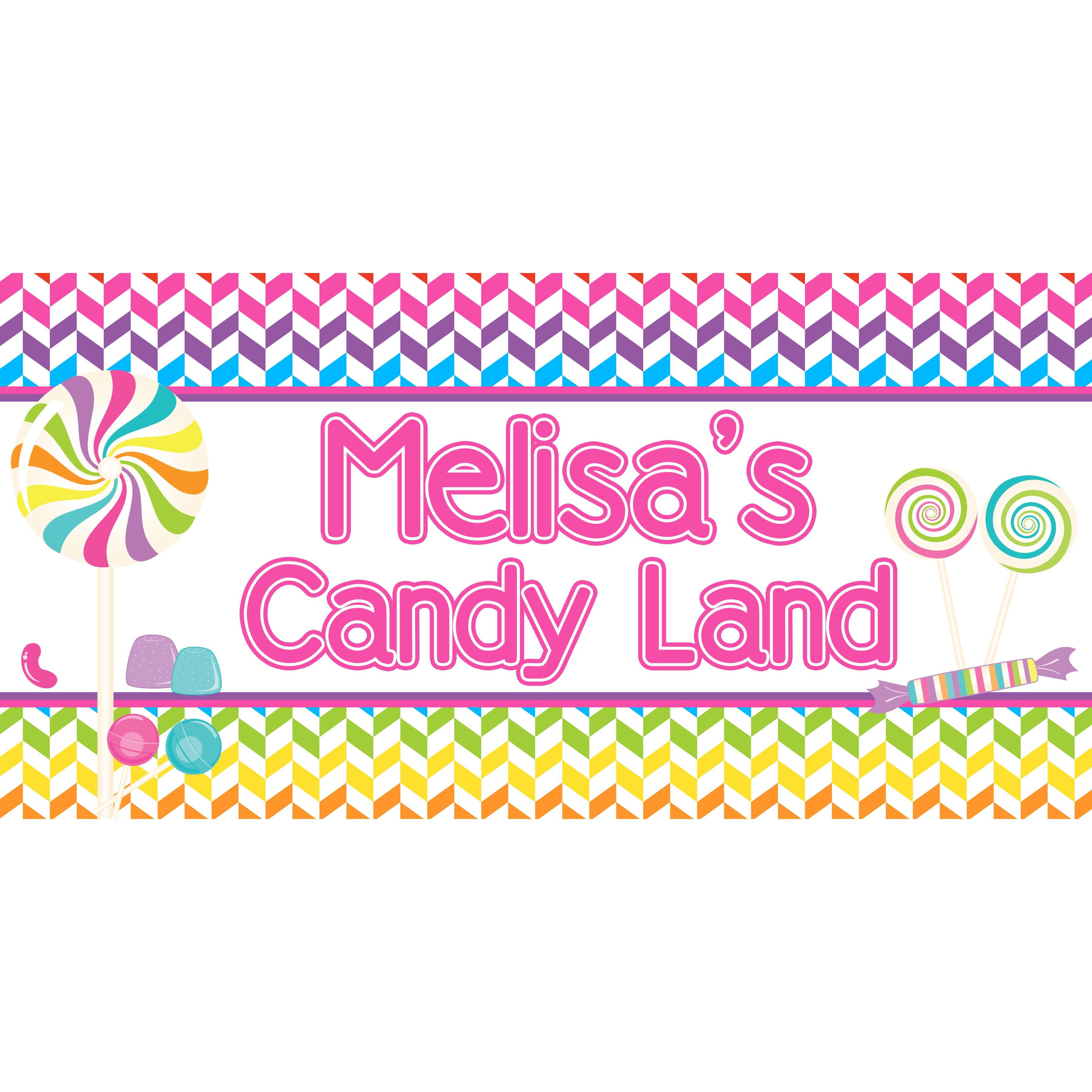 candyland birthday banners personalized ; BNR178
