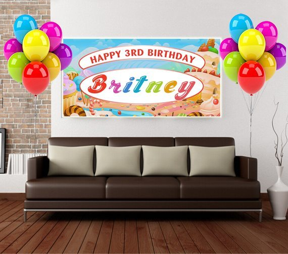 candyland birthday banners personalized ; candyland-couch