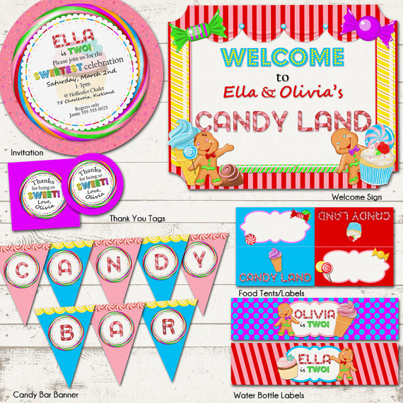candyland birthday banners personalized ; il_570xN