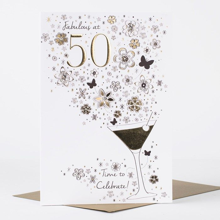 card factory birthday cards ; card-factory-birthday-cards-featuring-a-cocktail-glass-with-flowers-and-butterflies-in-gold-foil