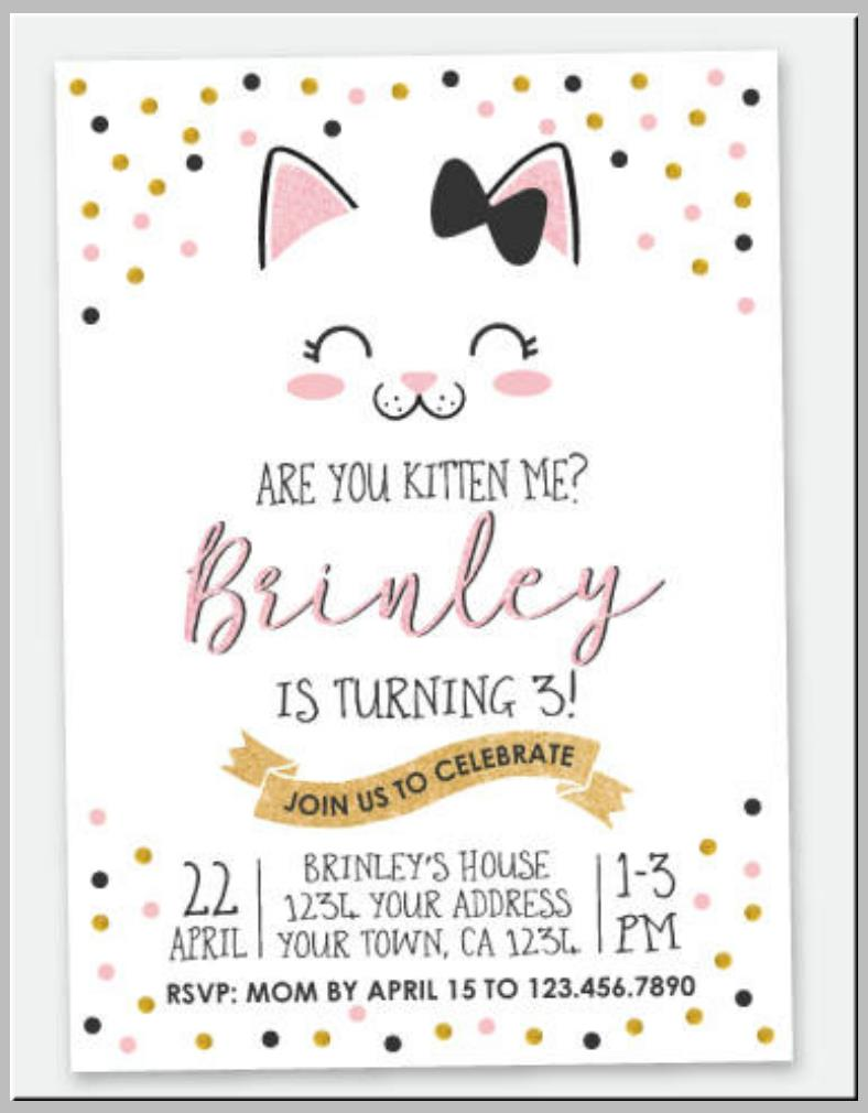 cat birthday invitation templates ; Elegant-Kitty-Cat-Birthday-Invitation-Template-788x1010