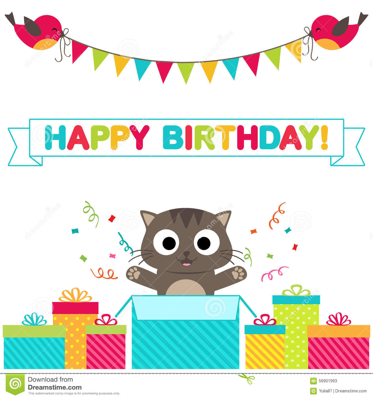 cat birthday invitation templates ; birthday-party-card-cute-background-funny-birds-cat-vector-template-invitation-56901993