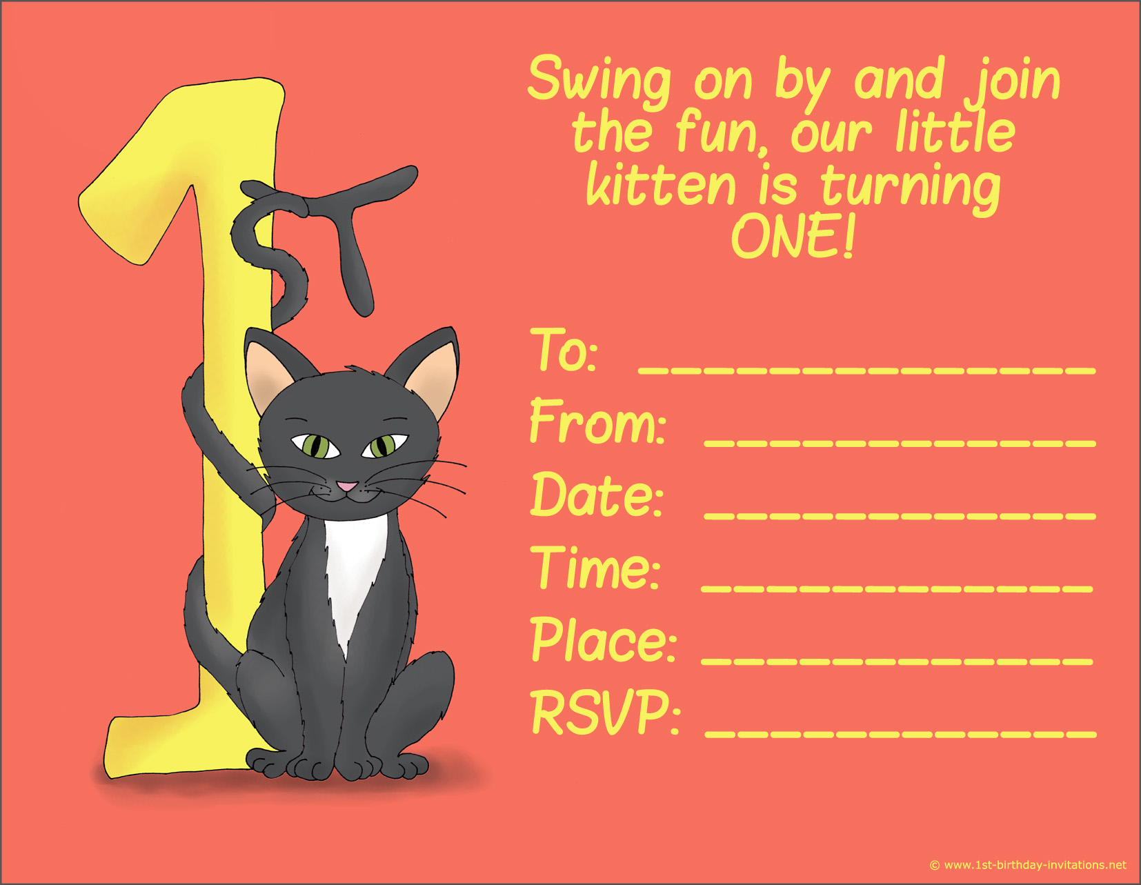 cat birthday invitation templates ; free-printable-1st-birthday-invitation-cards-printable-1st-birthday-card-with-cat