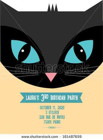 cat birthday invitation templates ; stock-vector-black-cat-birthday-invitation-template-vector-illustration-161487659
